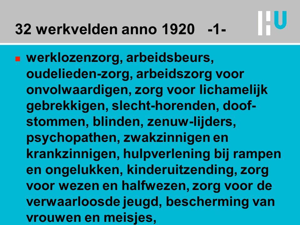 32 werkvelden anno 1920 -1- n werklozenzorg, arbeidsbeurs, oudelieden-zorg, arbeidszorg voor onvolwaardigen, zorg voor lichamelijk gebrekkigen, slecht-horenden, doof- stommen, blinden, zenuw-lijders, psychopathen, zwakzinnigen en krankzinnigen, hulpverlening bij rampen en ongelukken, kinderuitzending, zorg voor wezen en halfwezen, zorg voor de verwaarloosde jeugd, bescherming van vrouwen en meisjes,