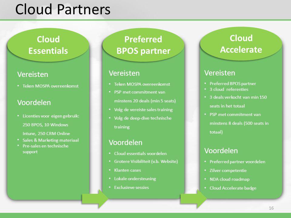 16 Cloud Partners Cloud Essentials Vereisten • Teken MOSPA overeenkomst Voordelen • Licenties voor eigen gebruik: 250 BPOS, 10 Windows Intune, 250 CRM