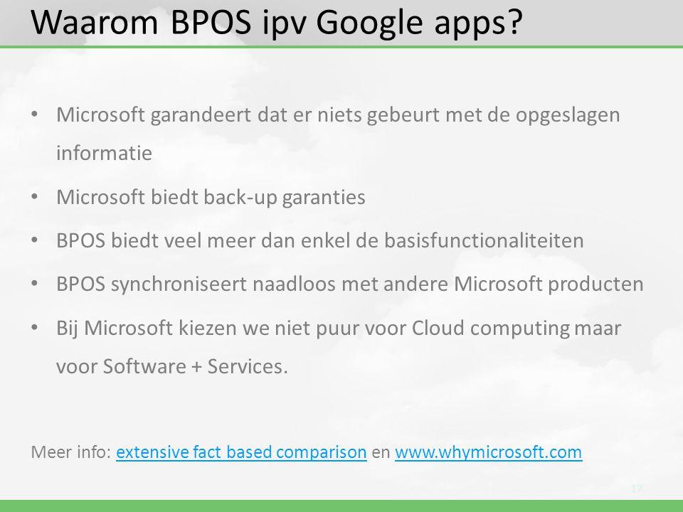 Waarom BPOS ipv Google apps? • Microsoft garandeert dat er niets gebeurt met de opgeslagen informatie • Microsoft biedt back-up garanties • BPOS biedt