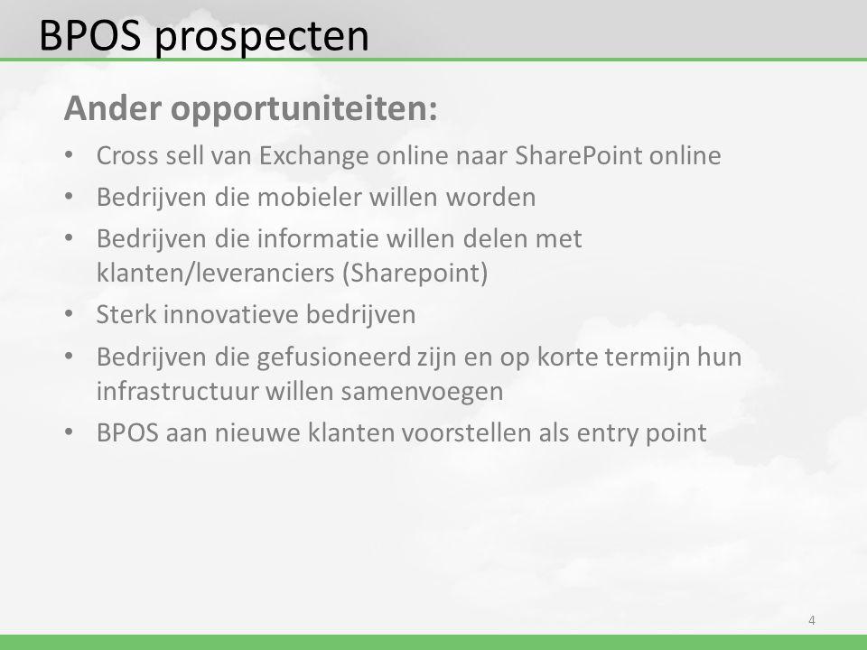 Ander opportuniteiten: • Cross sell van Exchange online naar SharePoint online • Bedrijven die mobieler willen worden • Bedrijven die informatie wille