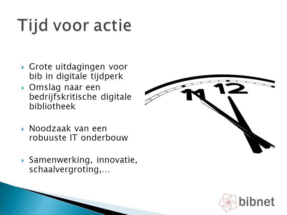  Grote uitdagingen voor bib in digitale tijdperk  Omslag naar een bedrijfskritische digitale bibliotheek  Noodzaak van een robuuste IT onderbouw 