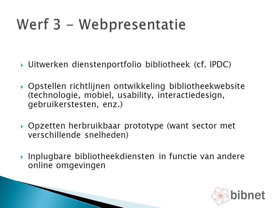  Uitwerken dienstenportfolio bibliotheek (cf. IPDC)  Opstellen richtlijnen ontwikkeling bibliotheekwebsite (technologie, mobiel, usability, interact