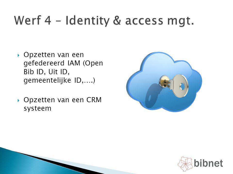  Opzetten van een gefedereerd IAM (Open Bib ID, Uit ID, gemeentelijke ID,….)  Opzetten van een CRM systeem