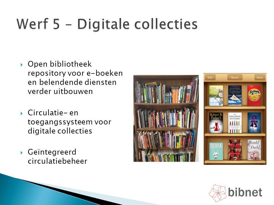  Open bibliotheek repository voor e-boeken en belendende diensten verder uitbouwen  Circulatie- en toegangssysteem voor digitale collecties  Geïnte