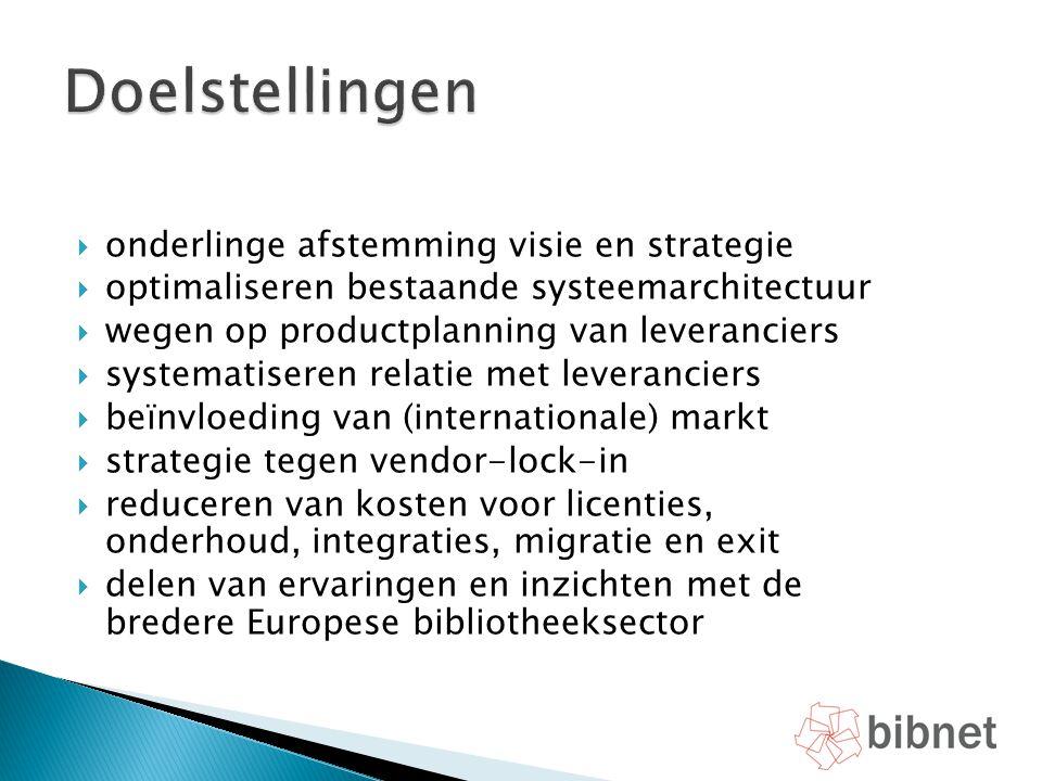  onderlinge afstemming visie en strategie  optimaliseren bestaande systeemarchitectuur  wegen op productplanning van leveranciers  systematiseren