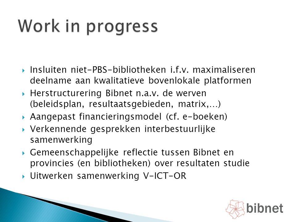  Insluiten niet-PBS-bibliotheken i.f.v. maximaliseren deelname aan kwalitatieve bovenlokale platformen  Herstructurering Bibnet n.a.v. de werven (be