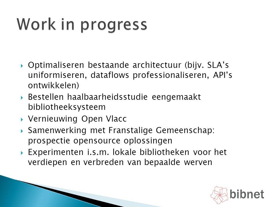  Optimaliseren bestaande architectuur (bijv. SLA's uniformiseren, dataflows professionaliseren, API's ontwikkelen)  Bestellen haalbaarheidsstudie ee