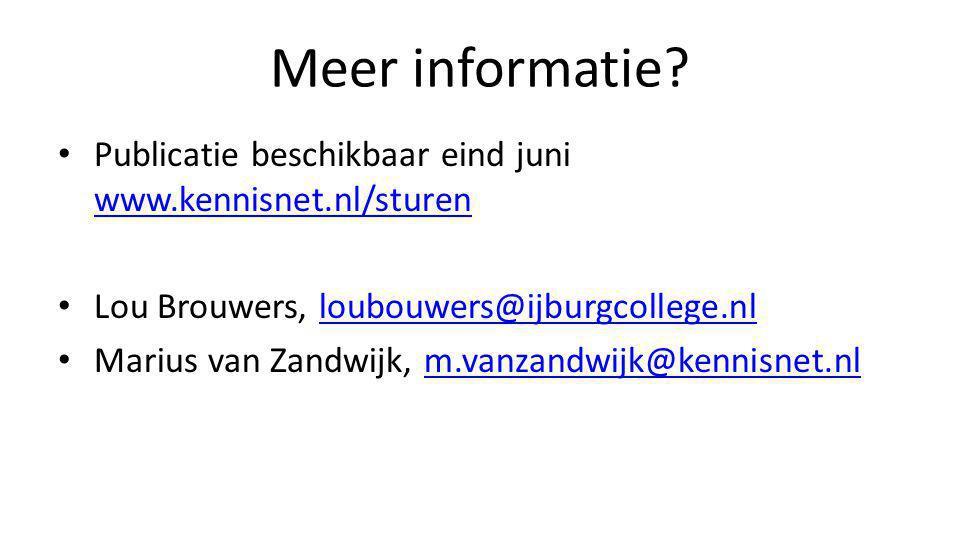 Meer informatie? • Publicatie beschikbaar eind juni www.kennisnet.nl/sturen www.kennisnet.nl/sturen • Lou Brouwers, loubouwers@ijburgcollege.nlloubouw