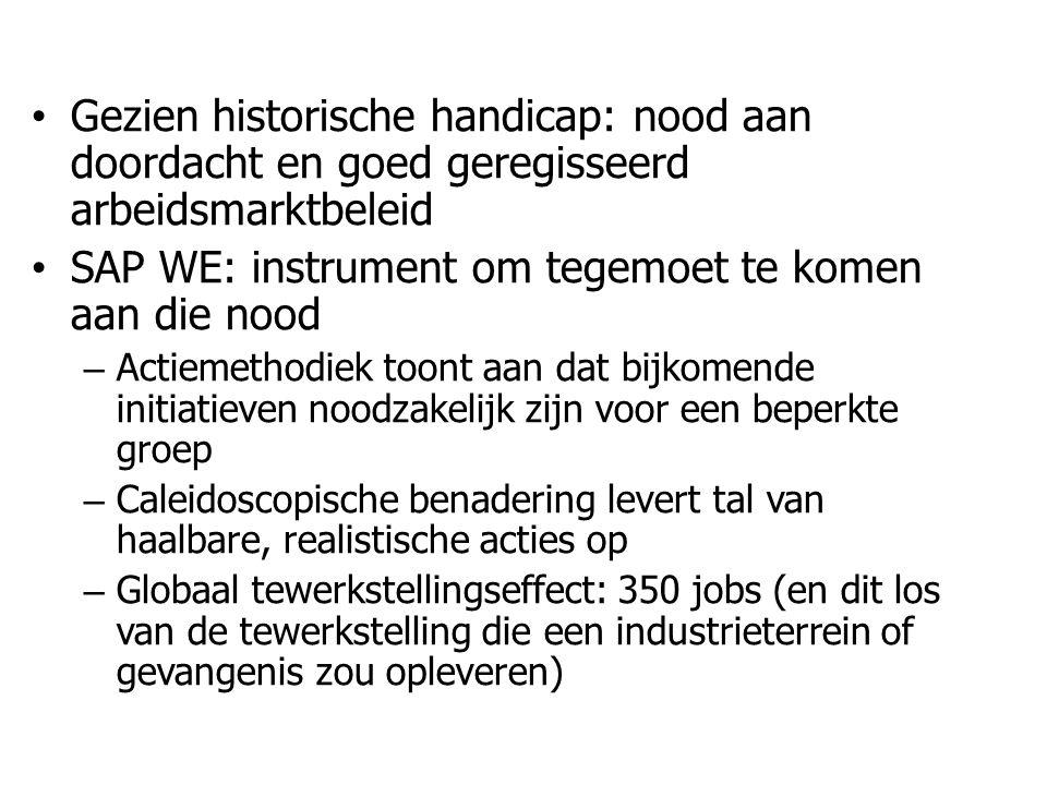 • Gezien historische handicap: nood aan doordacht en goed geregisseerd arbeidsmarktbeleid • SAP WE: instrument om tegemoet te komen aan die nood – Actiemethodiek toont aan dat bijkomende initiatieven noodzakelijk zijn voor een beperkte groep – Caleidoscopische benadering levert tal van haalbare, realistische acties op – Globaal tewerkstellingseffect: 350 jobs (en dit los van de tewerkstelling die een industrieterrein of gevangenis zou opleveren)