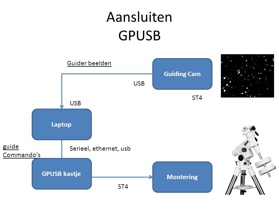 Aansluiten GPUSB Laptop Guiding Cam Montering USB Serieel, ethernet, usb ST4 Guider beelden guide Commando's GPUSB kastje ST4