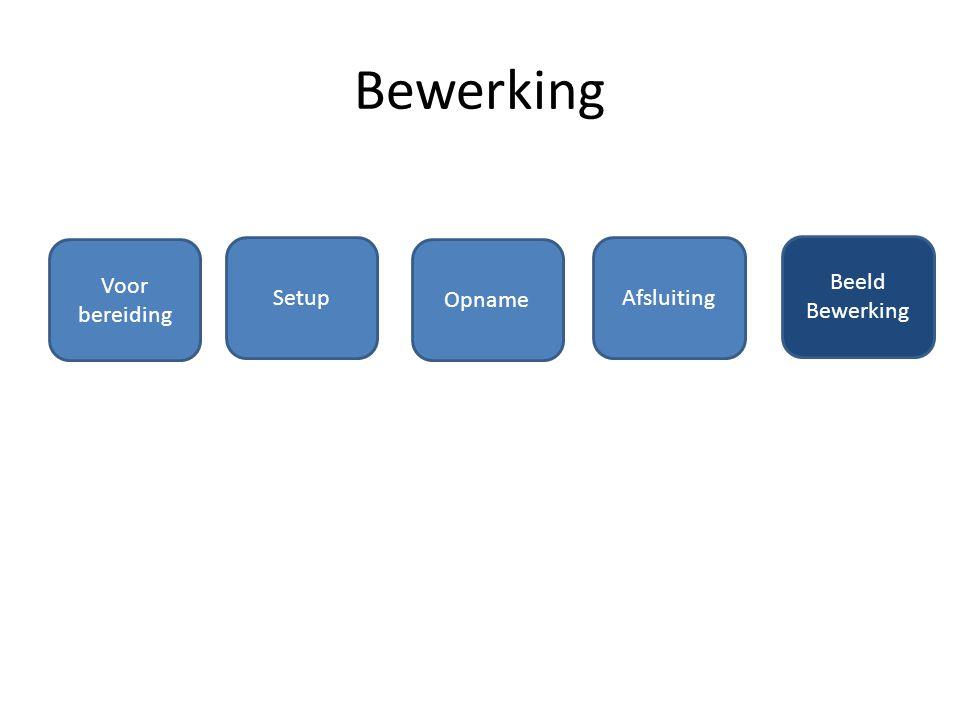 Bewerking Voor bereiding Setup Opname Afsluiting Beeld Bewerking