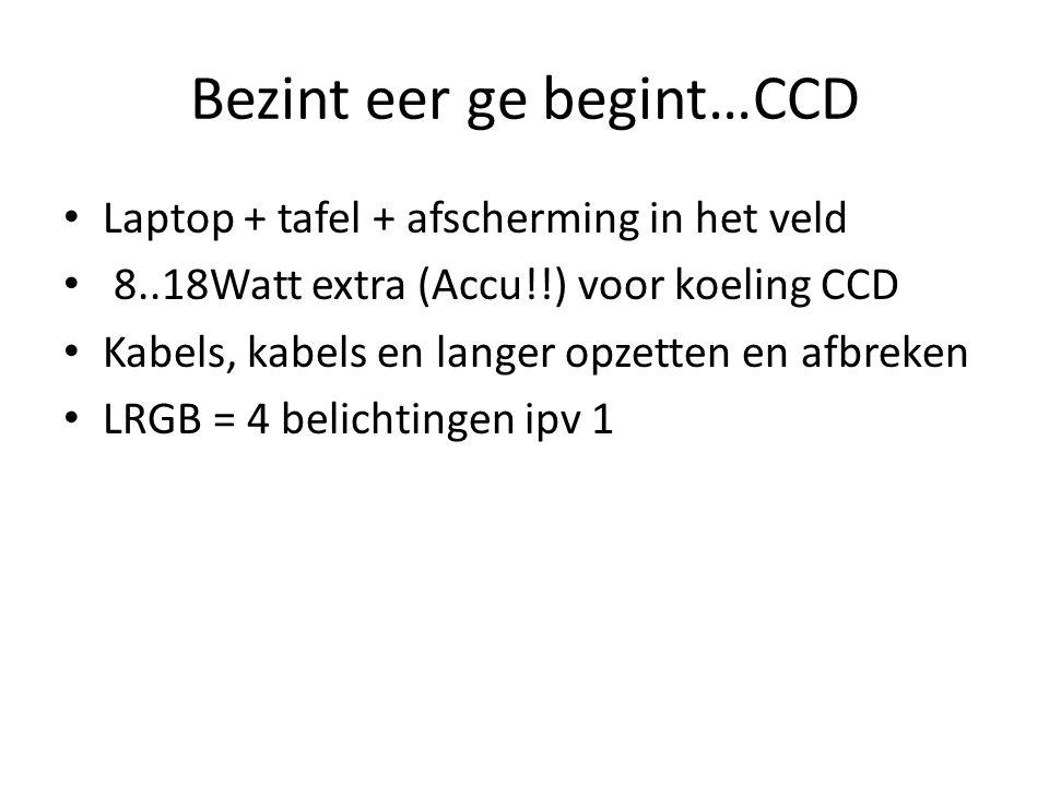 Bezint eer ge begint…CCD • Laptop + tafel + afscherming in het veld • 8..18Watt extra (Accu!!) voor koeling CCD • Kabels, kabels en langer opzetten en