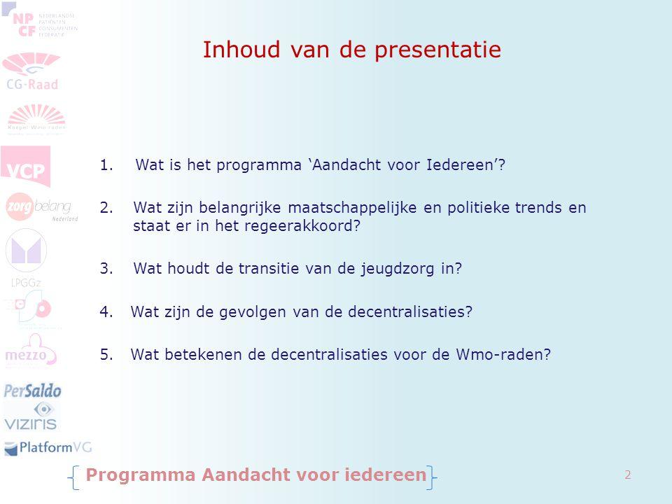 Inhoud van de presentatie 1. Wat is het programma 'Aandacht voor Iedereen'? 2.Wat zijn belangrijke maatschappelijke en politieke trends en staat er in