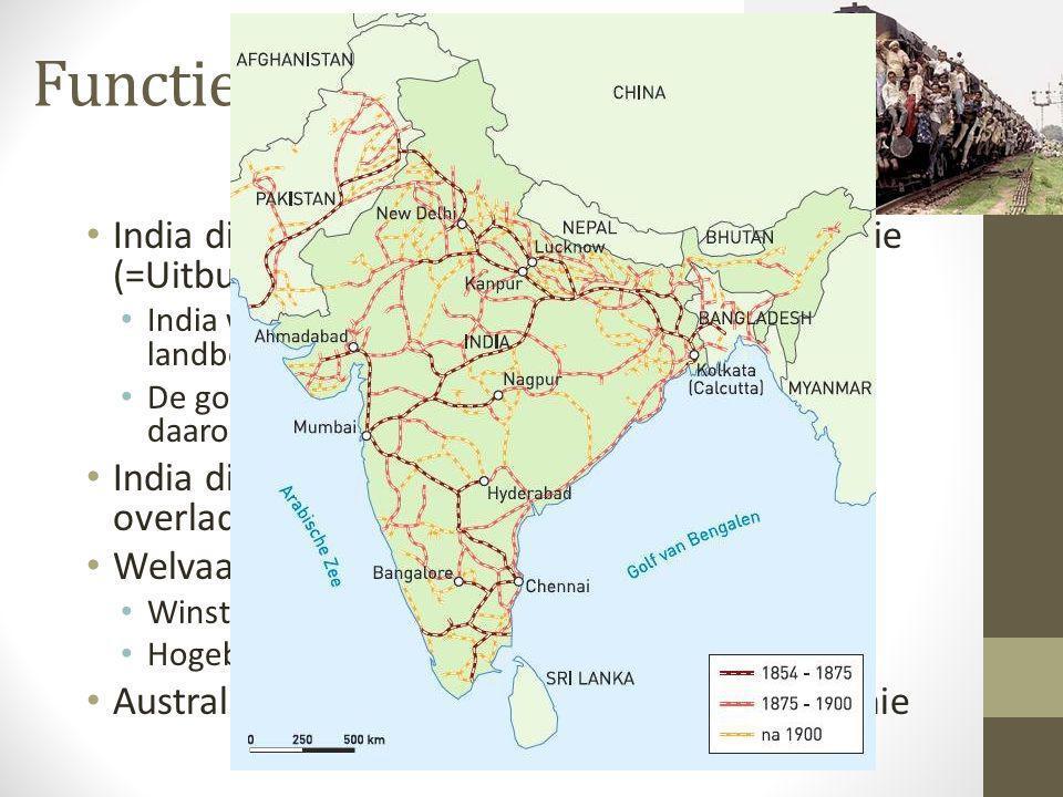 Functie India • India diende als zogenaamde Exploitatiekolonie (=Uitbuiten) • India was belangrijk als leverancier van landbouwproducten • De goederen