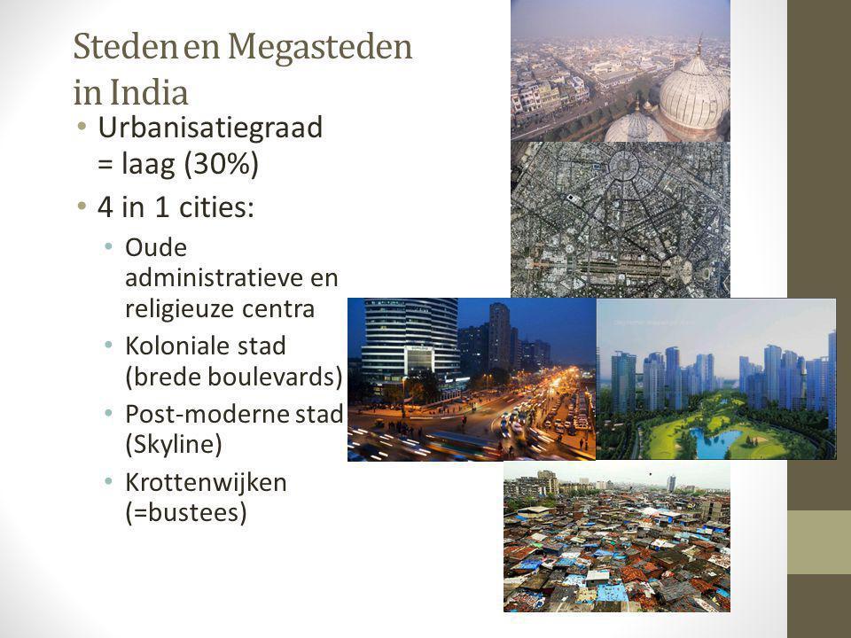Steden en Megasteden in India • Urbanisatiegraad = laag (30%) • 4 in 1 cities: • Oude administratieve en religieuze centra • Koloniale stad (brede bou