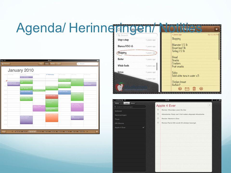 Agenda/ Herinneringen/ Notities