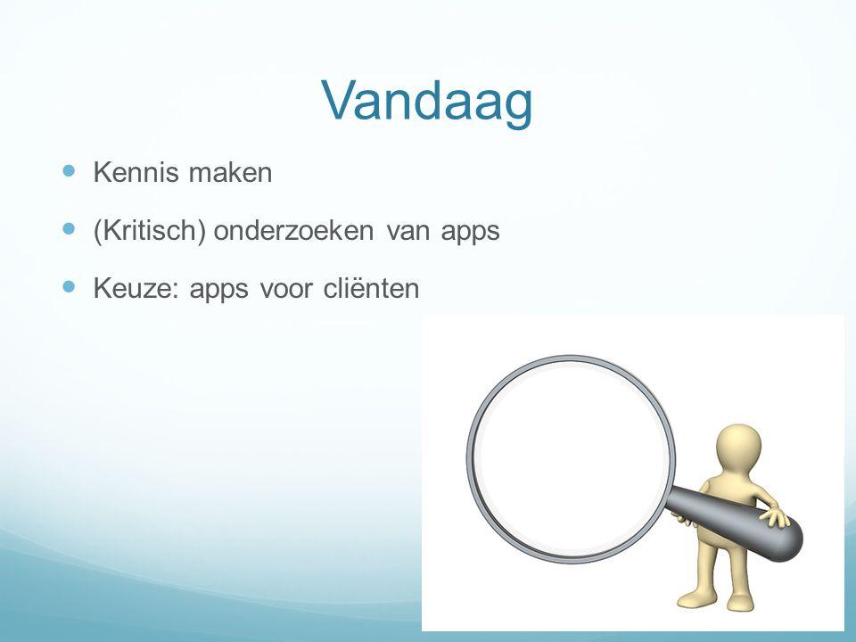 Instructie  10 iPads  Groepen van 7-8 personen  Een app onderzoeken  Presentatie