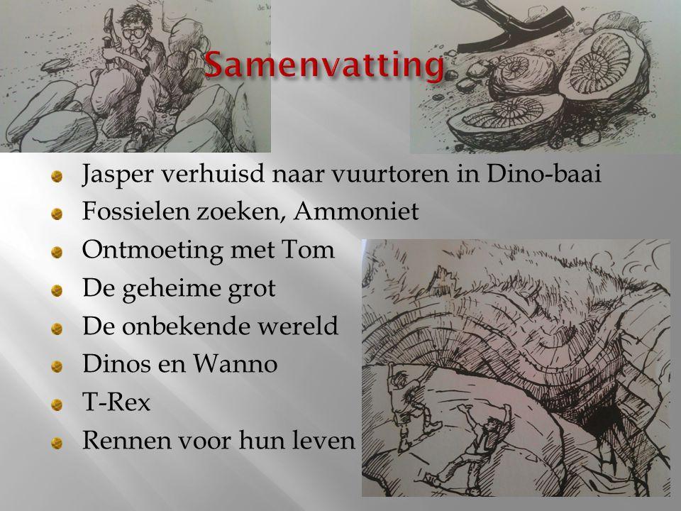 Jasper verhuisd naar vuurtoren in Dino-baai Fossielen zoeken, Ammoniet Ontmoeting met Tom De geheime grot De onbekende wereld Dinos en Wanno T-Rex Rennen voor hun leven