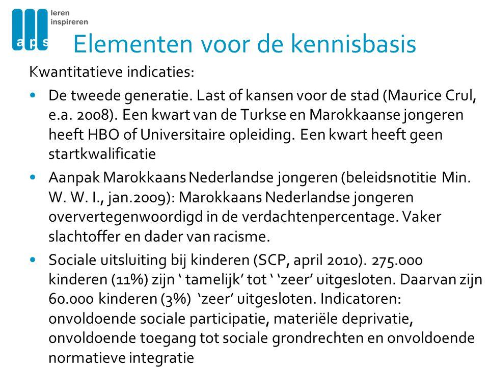 Kwantitatieve indicaties: •De tweede generatie. Last of kansen voor de stad (Maurice Crul, e.a.