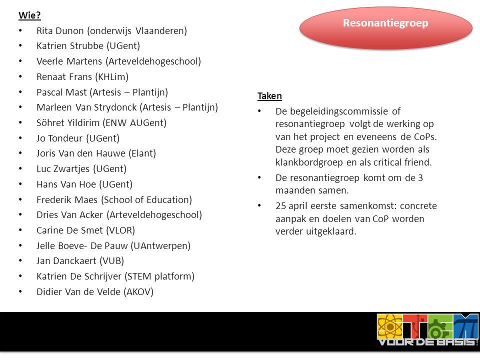 Wie? • Rita Dunon (onderwijs Vlaanderen) • Katrien Strubbe (UGent) • Veerle Martens (Arteveldehogeschool) • Renaat Frans (KHLim) • Pascal Mast (Artesi