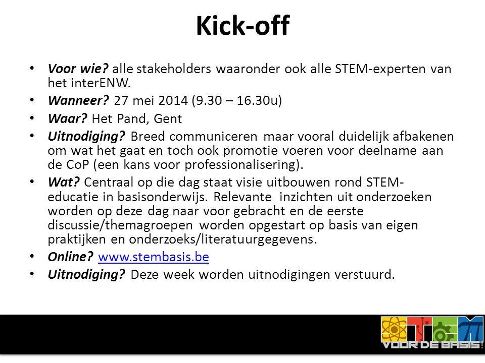 Kick-off • Voor wie. alle stakeholders waaronder ook alle STEM-experten van het interENW.