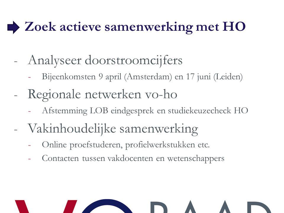 Zoek actieve samenwerking met HO - Analyseer doorstroomcijfers -Bijeenkomsten 9 april (Amsterdam) en 17 juni (Leiden) - Regionale netwerken vo-ho -Afs