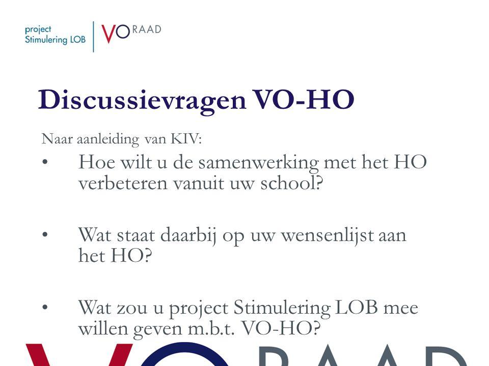 Discussievragen VO-HO Naar aanleiding van KIV: • Hoe wilt u de samenwerking met het HO verbeteren vanuit uw school? • Wat staat daarbij op uw wensenli