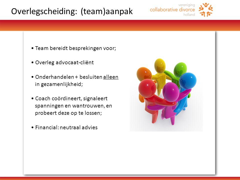 • Team bereidt besprekingen voor; • Overleg advocaat-cliënt • Onderhandelen + besluiten alleen in gezamenlijkheid; • Coach coördineert, signaleert spanningen en wantrouwen, en probeert deze op te lossen; • Financial: neutraal advies Overlegscheiding: (team)aanpak