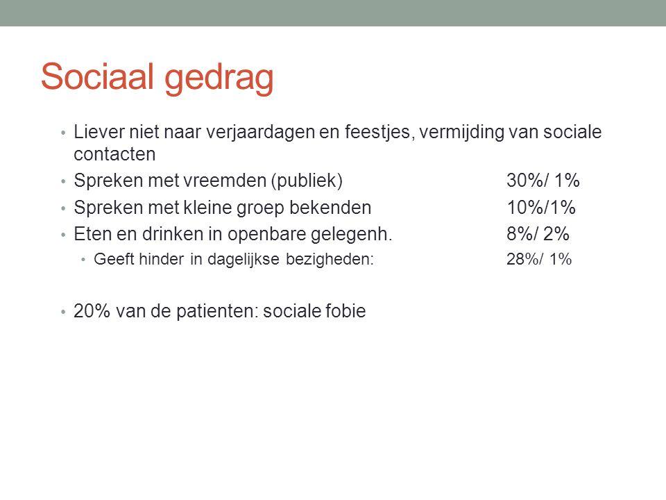 Sociaal gedrag • Liever niet naar verjaardagen en feestjes, vermijding van sociale contacten • Spreken met vreemden (publiek)30%/ 1% • Spreken met kle