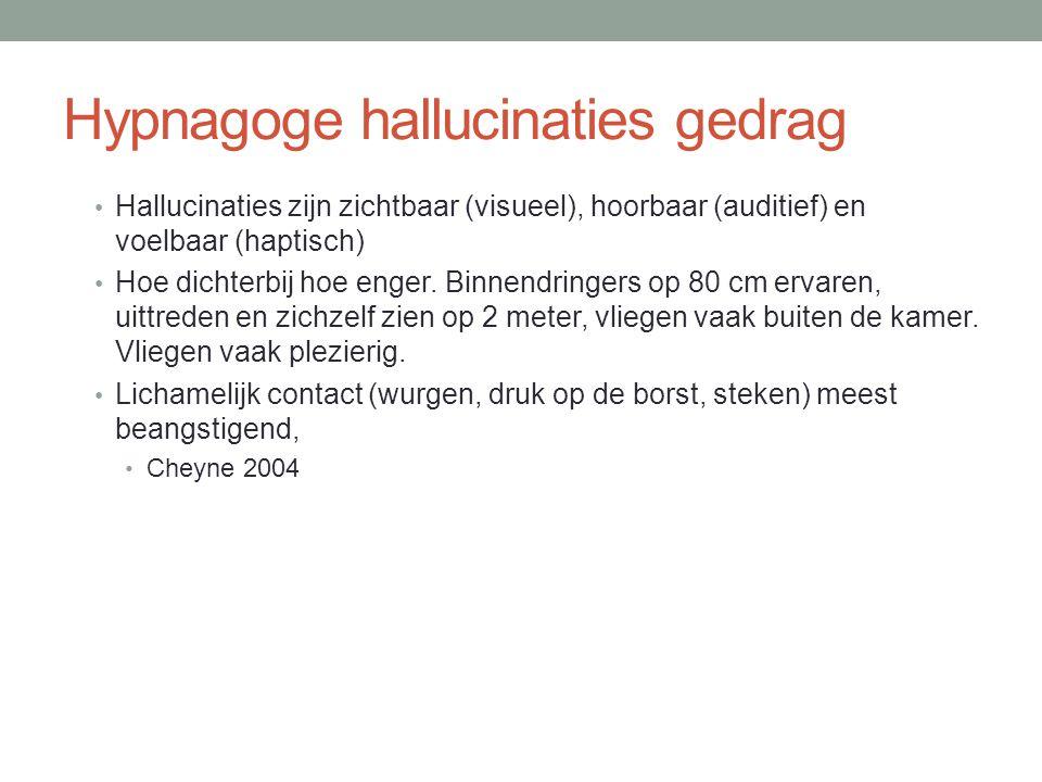 Hypnagoge hallucinaties gedrag • Hallucinaties zijn zichtbaar (visueel), hoorbaar (auditief) en voelbaar (haptisch) • Hoe dichterbij hoe enger. Binnen