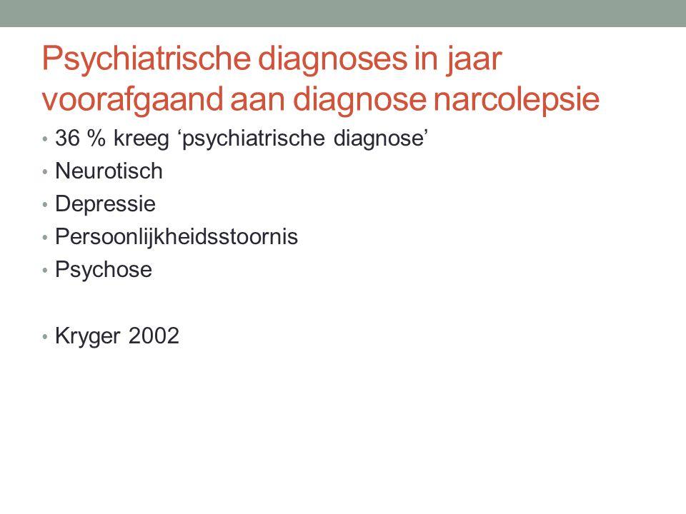 Psychiatrische diagnoses in jaar voorafgaand aan diagnose narcolepsie • 36 % kreeg 'psychiatrische diagnose' • Neurotisch • Depressie • Persoonlijkhei