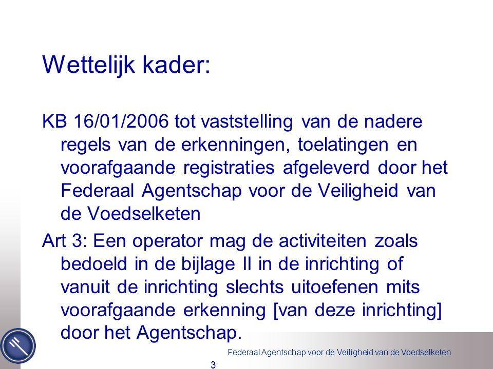Federaal Agentschap voor de Veiligheid van de Voedselketen Wettelijk kader: KB 16/01/2006 tot vaststelling van de nadere regels van de erkenningen, to