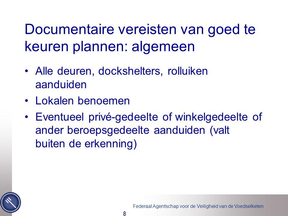 Federaal Agentschap voor de Veiligheid van de Voedselketen Documentaire vereisten van goed te keuren plannen: algemeen •Alle deuren, dockshelters, rol
