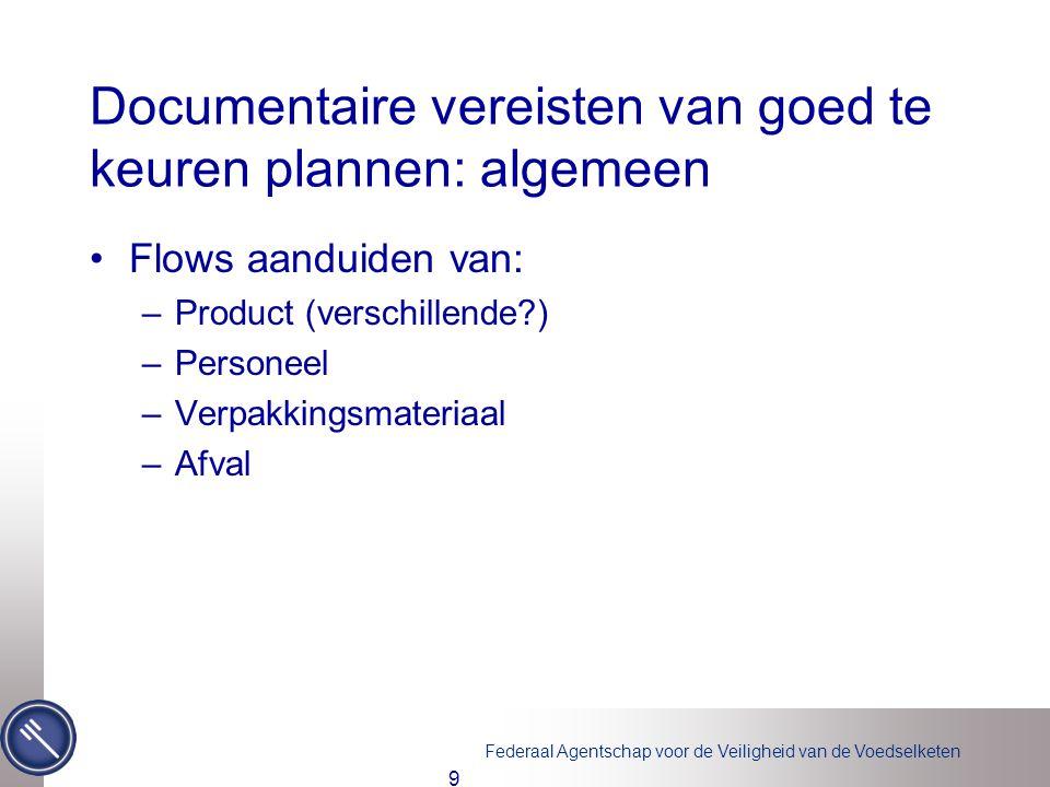 Federaal Agentschap voor de Veiligheid van de Voedselketen Documentaire vereisten van goed te keuren plannen: algemeen •Flows aanduiden van: –Product
