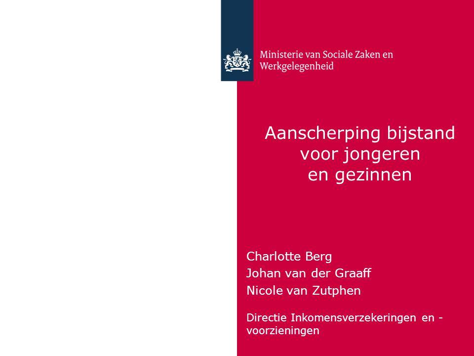 Aanscherping bijstand voor jongeren en gezinnen Charlotte Berg Johan van der Graaff Nicole van Zutphen Directie Inkomensverzekeringen en - voorzieningen