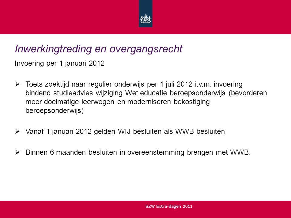 Inwerkingtreding en overgangsrecht Invoering per 1 januari 2012  Toets zoektijd naar regulier onderwijs per 1 juli 2012 i.v.m. invoering bindend stud