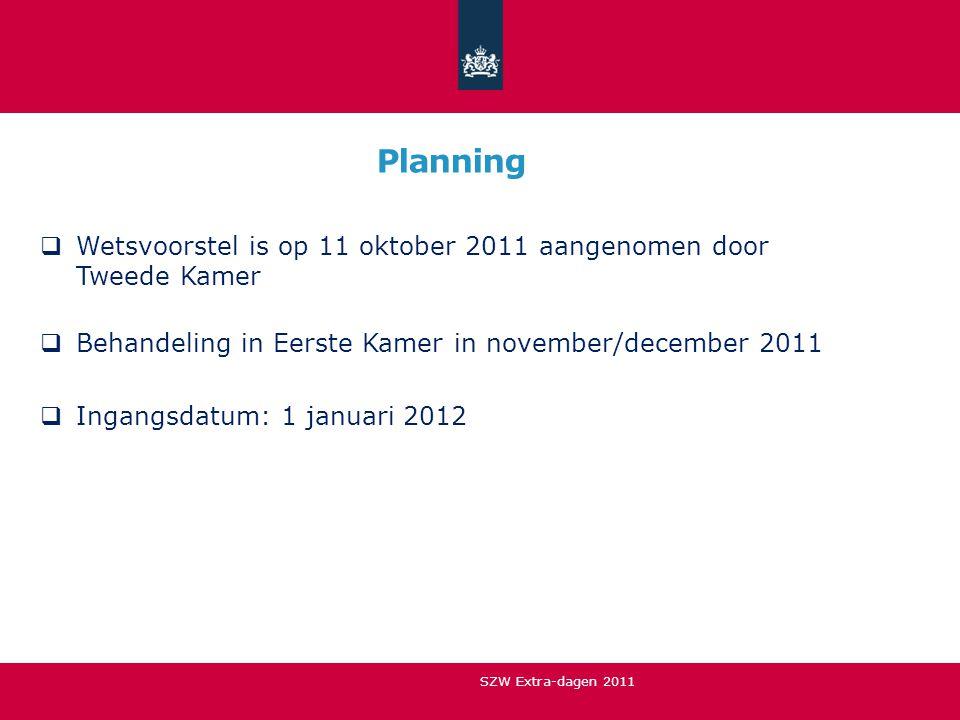 Planning  Wetsvoorstel is op 11 oktober 2011 aangenomen door Tweede Kamer  Behandeling in Eerste Kamer in november/december 2011  Ingangsdatum: 1 j