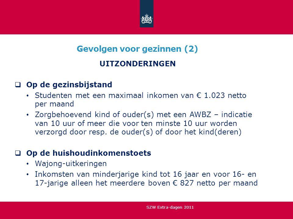 Gevolgen voor gezinnen (2) UITZONDERINGEN  Op de gezinsbijstand • Studenten met een maximaal inkomen van € 1.023 netto per maand • Zorgbehoevend kind