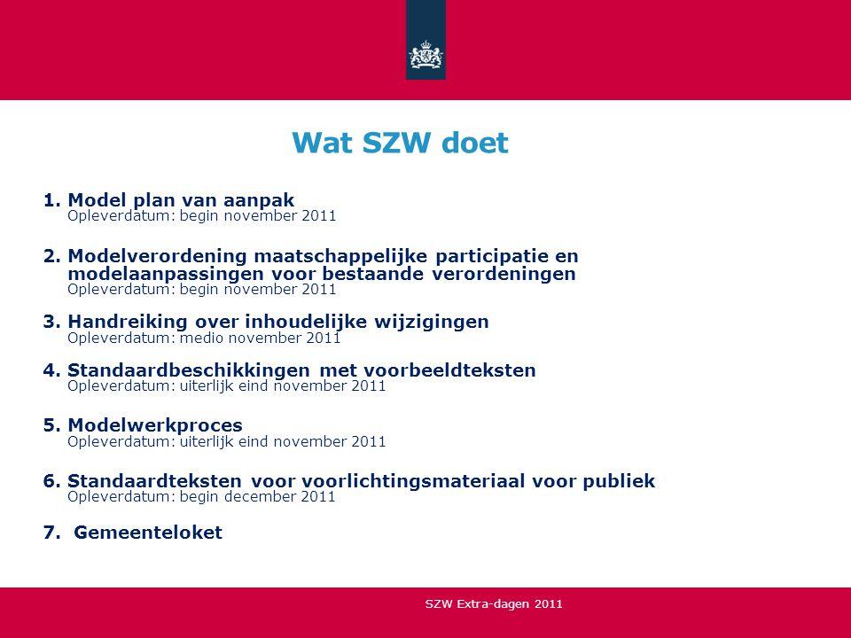 Wat SZW doet 1.Model plan van aanpak Opleverdatum: begin november 2011 2.Modelverordening maatschappelijke participatie en modelaanpassingen voor best