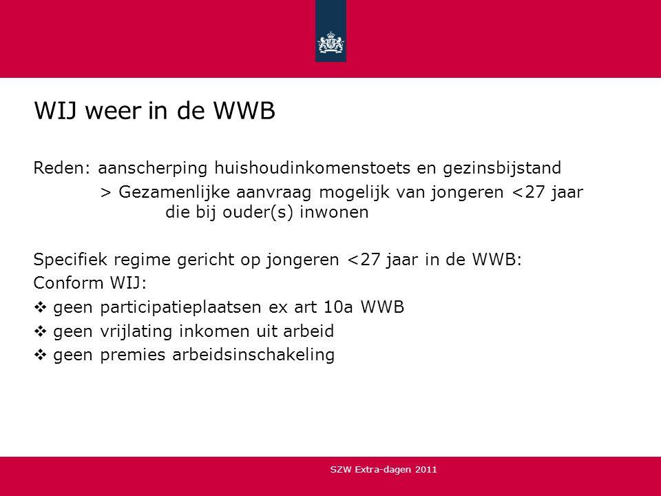 WIJ weer in de WWB Reden: aanscherping huishoudinkomenstoets en gezinsbijstand > Gezamenlijke aanvraag mogelijk van jongeren <27 jaar die bij ouder(s)