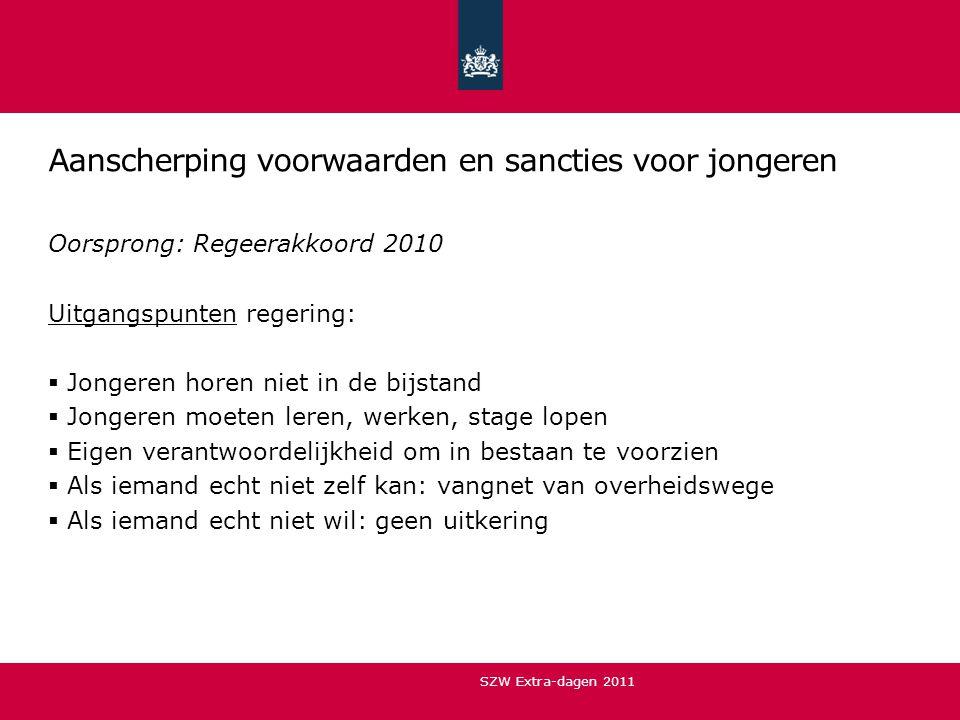 Planning  Wetsvoorstel is op 11 oktober 2011 aangenomen door Tweede Kamer  Behandeling in Eerste Kamer in november/december 2011  Ingangsdatum: 1 januari 2012 SZW Extra-dagen 2011