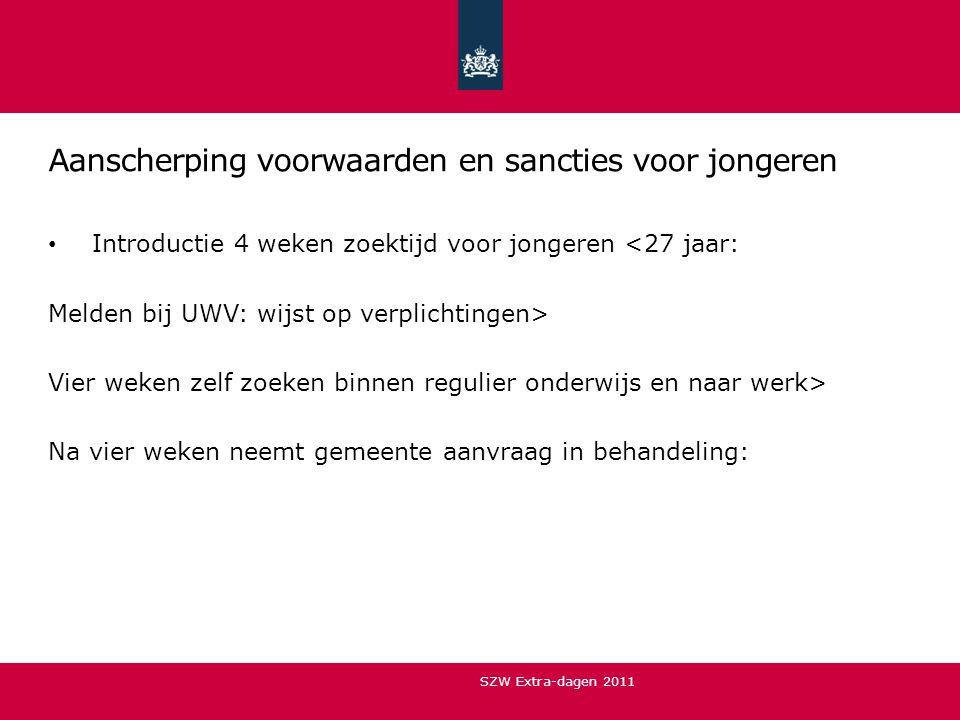 Aanscherping voorwaarden en sancties voor jongeren • Introductie 4 weken zoektijd voor jongeren <27 jaar: Melden bij UWV: wijst op verplichtingen> Vie
