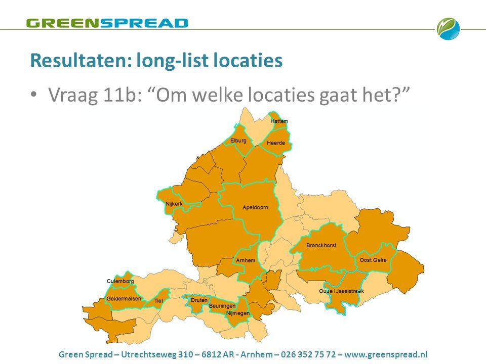 "Green Spread – Utrechtseweg 310 – 6812 AR - Arnhem – 026 352 75 72 – www.greenspread.nl Resultaten: long-list locaties • Vraag 11b: ""Om welke locaties"