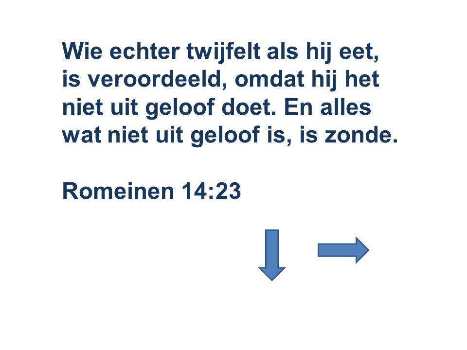 Wie echter twijfelt als hij eet, is veroordeeld, omdat hij het niet uit geloof doet. En alles wat niet uit geloof is, is zonde. Romeinen 14:23