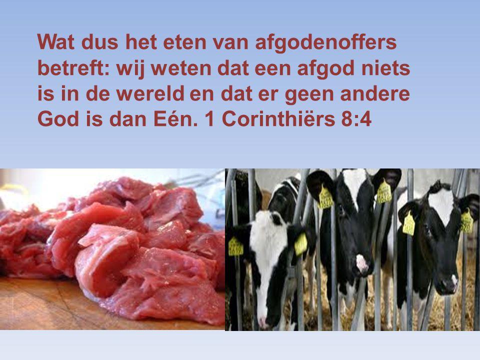 Wat dus het eten van afgodenoffers betreft: wij weten dat een afgod niets is in de wereld en dat er geen andere God is dan Eén. 1 Corinthiërs 8:4