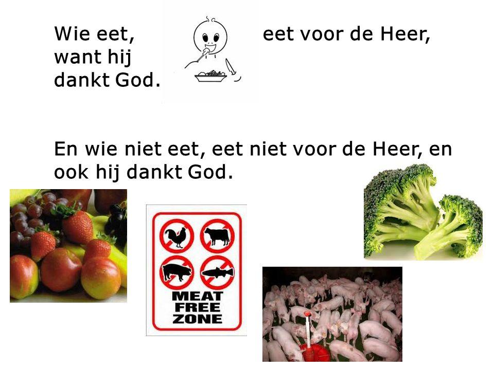 Wie eet, eet voor de Heer, want hij dankt God. En wie niet eet, eet niet voor de Heer, en ook hij dankt God.