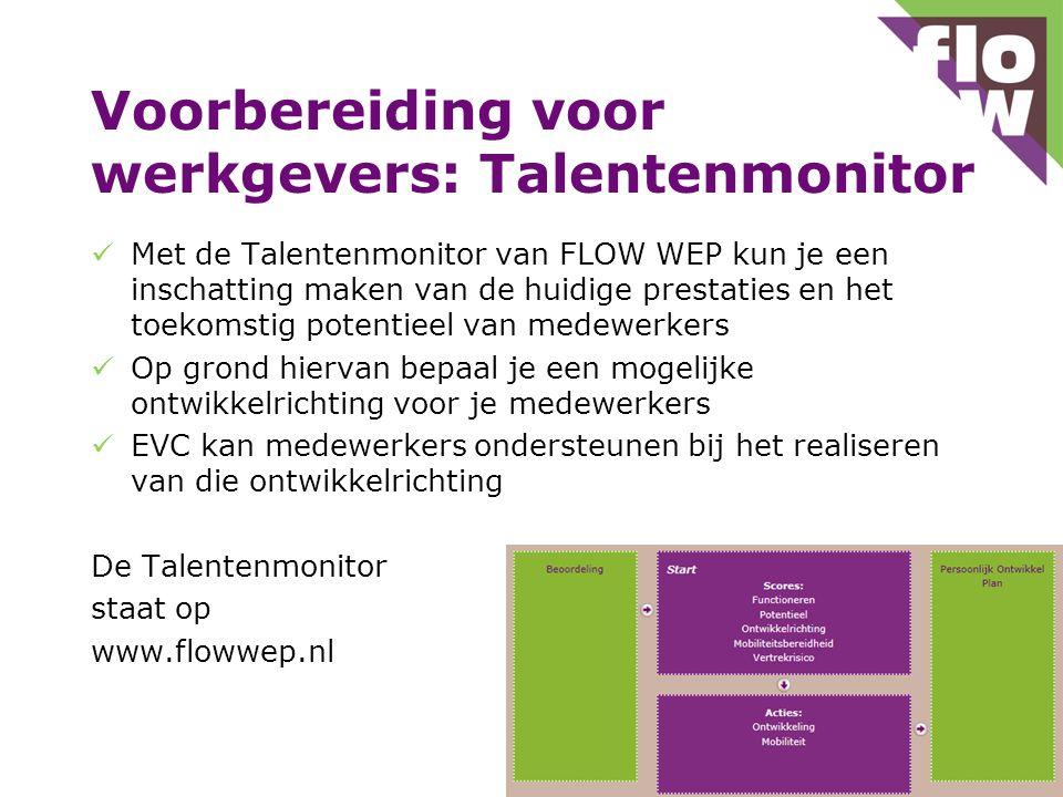 Voorbereiding voor werkgevers: Talentenmonitor  Met de Talentenmonitor van FLOW WEP kun je een inschatting maken van de huidige prestaties en het toekomstig potentieel van medewerkers  Op grond hiervan bepaal je een mogelijke ontwikkelrichting voor je medewerkers  EVC kan medewerkers ondersteunen bij het realiseren van die ontwikkelrichting De Talentenmonitor staat op www.flowwep.nl