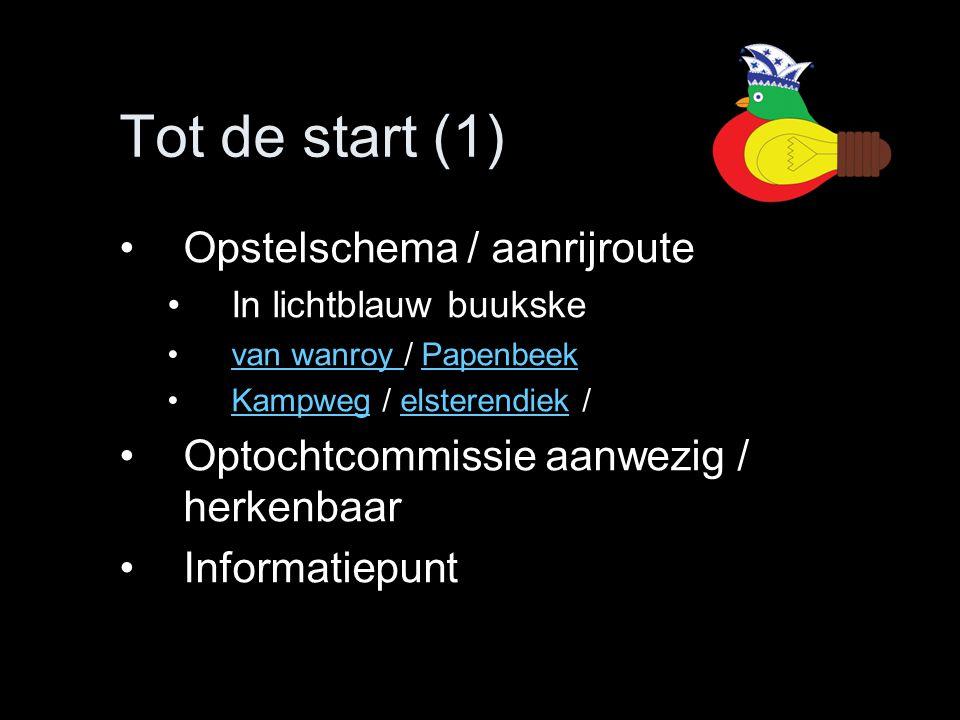 Tot de start (1) •Opstelschema / aanrijroute •In lichtblauw buukske •van wanroy / Papenbeekvan wanroy Papenbeek •Kampweg / elsterendiek /Kampwegelster
