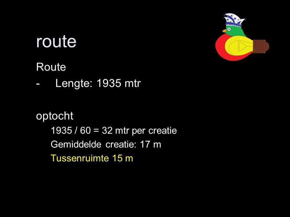 route Route -Lengte: 1935 mtr optocht 1935 / 60 = 32 mtr per creatie Gemiddelde creatie: 17 m Tussenruimte 15 m