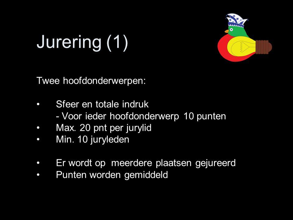 Jurering (1) Twee hoofdonderwerpen: •Sfeer en totale indruk - Voor ieder hoofdonderwerp 10 punten •Max. 20 pnt per jurylid •Min. 10 juryleden •Er word